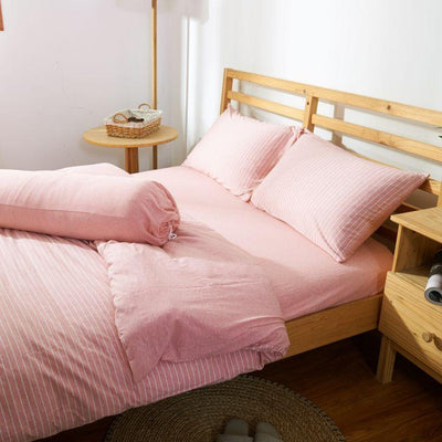 Cotton Pure™ Pinky Stripe Jersey Cotton Quilt Cover - Bedding Affairs