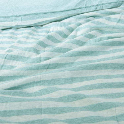 Cotton Pure™ Pale Green Stripe Jersey Cotton Quilt Cover - Bedding Affairs