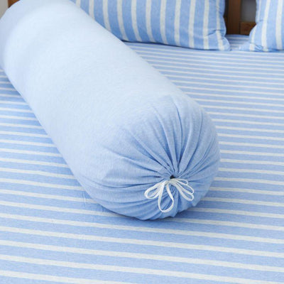 Cotton Pure™ Sky Blue Stripe Jersey Cotton Bolster Case - Bedding Affairs