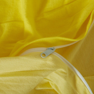 Cotton Pure™ Lemon Yellow Knitted Cotton Quilt Cover