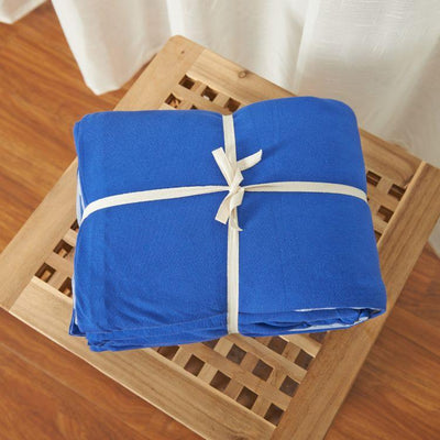Cotton Pure™ Klein Blue Jersey Cotton Fitted Sheet Set - Bedding Affairs