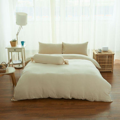 Cotton Pure™ Milky Beige Jersey Cotton Fitted Sheet Set - Bedding Affairs