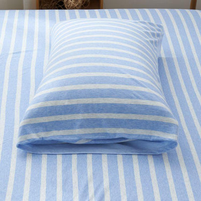 Cotton Pure™ Sky Blue Stripe Jersey Cotton Fitted Sheet Set - Bedding Affairs