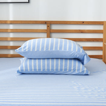 Cotton Pure™ Grey Blue Stripes Knitted Cotton Bundle Bed Set