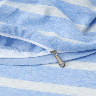 Cotton Pure™ Sky Blue Stripe Knitted Cotton Quilt Cover - Bedding Affairs