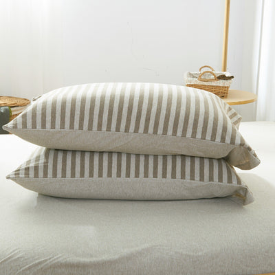 Cotton Pure™ Brownie Beige Stripe Knitted Cotton Pillow Case - Bedding Affairs