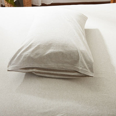 Cotton Pure™ Brownie Beige Stripe Knitted Cotton Pillow Case Pillow & Bolster Case Cotton Pure™