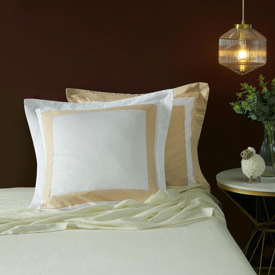 Hotelier Prestigio™ Luxury White Champagne Border Euro Sham - Bedding Affairs