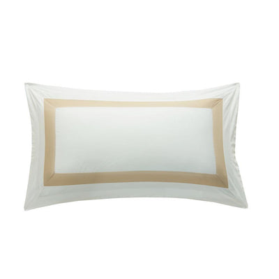 Hotelier Prestigio™ Luxury White Champagne Border King Sham - Bedding Affairs