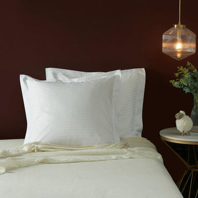 Hotelier Prestigio™ White Sateen Stripe Euro Sham - Bedding Affairs