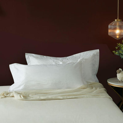 Hotelier Prestigio™ White Sateen Stripe King Sham - Bedding Affairs