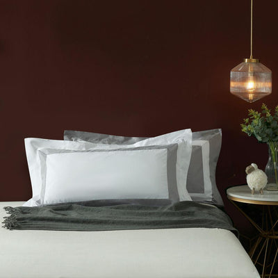 Hotelier Prestigio™ Luxury White Base Grey Border King Sham - Bedding Affairs