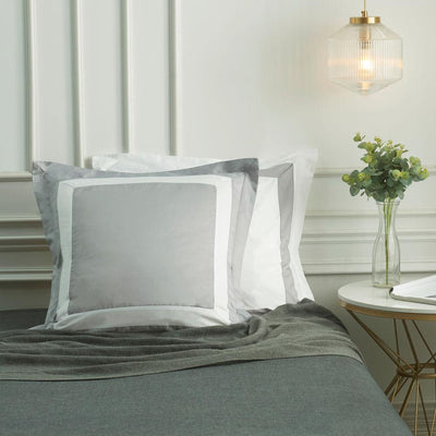 Hotelier Prestigio™ Luxury Cliff Grey Base White Border Euro Sham - Bedding Affairs