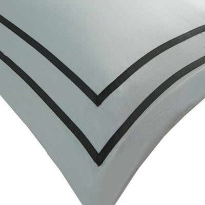 Hotelier Prestigio™ Cliff Grey Black Grosgrain Border Euro Sham - Bedding Affairs
