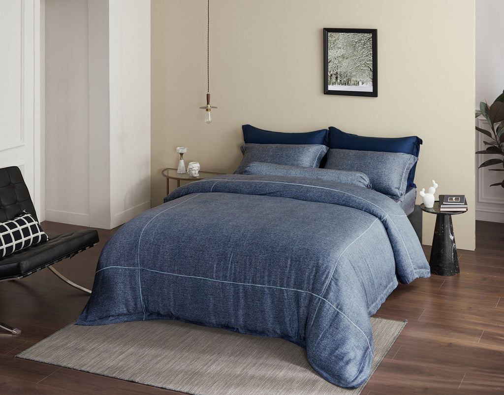 Palais Suite TENCEL™ Ocean Lined Fitted Sheet Set - Bedding Affairs
