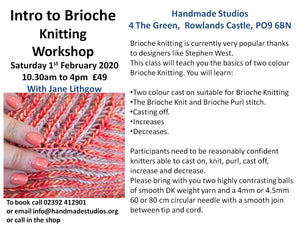 Intro to Brioche workshop Saturday 1st Feb £49   £20 Deposit