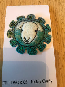 Handmade felt sheep brooch by Feltworks Jackie Cardy No 9