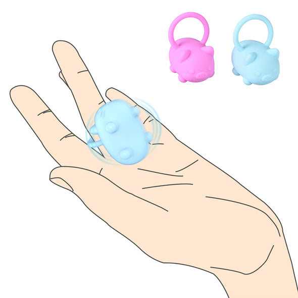 2019 New Mini Pig Shape Penis Rings Vibrating Cock Rings - yuechaotoys