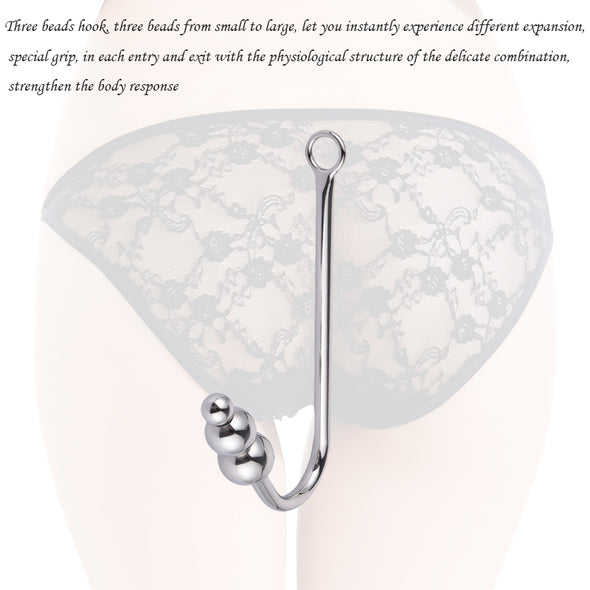 Stainless Steel Anal Hook with Anal Beads Hole - yuechaotoys