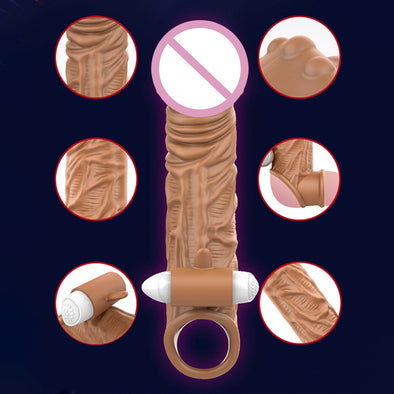Reusable Realistic Penis Sleeve Enlargement Condoms For Men - yuechaotoys