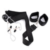 Female Mouth Gag Stuffed Black Ball PU Leather with Nipple Clamps Slave Collar - yuechaotoys
