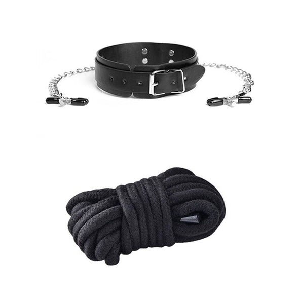 BDSM Sex Slave Nipple Clip and Soft Cotton Bondage Rope Set - yuechaotoys