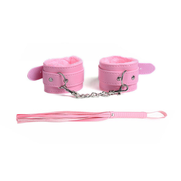 Teddy SM Adult Game Temptation Whip and Sexy Handcuffs Toys Set - yuechaotoys