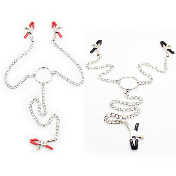 Adjustable Breast Nipple Clamps with Metal Chain for Couple - yuechaotoys