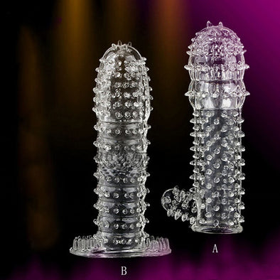 TPE Reusable Time Delay Crystal Penis Condoms for Men - yuechaotoys