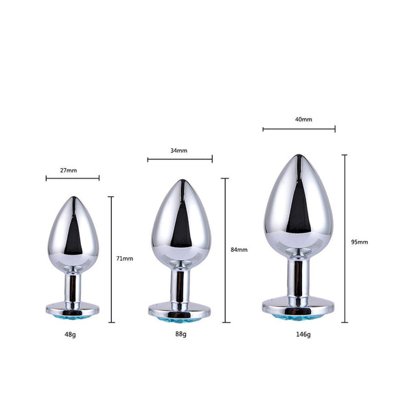 Stainless Smooth Steel Metal Anal Plug With Crystal Diamond Jewelry - yuechaotoys