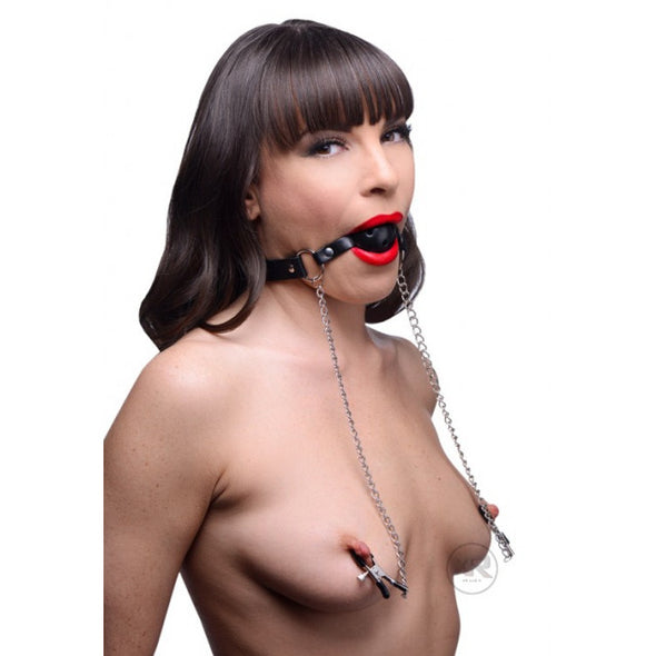 Mouth Gag Ball Oral Fixation with Breast Chain Clip and PU Leather - yuechaotoys