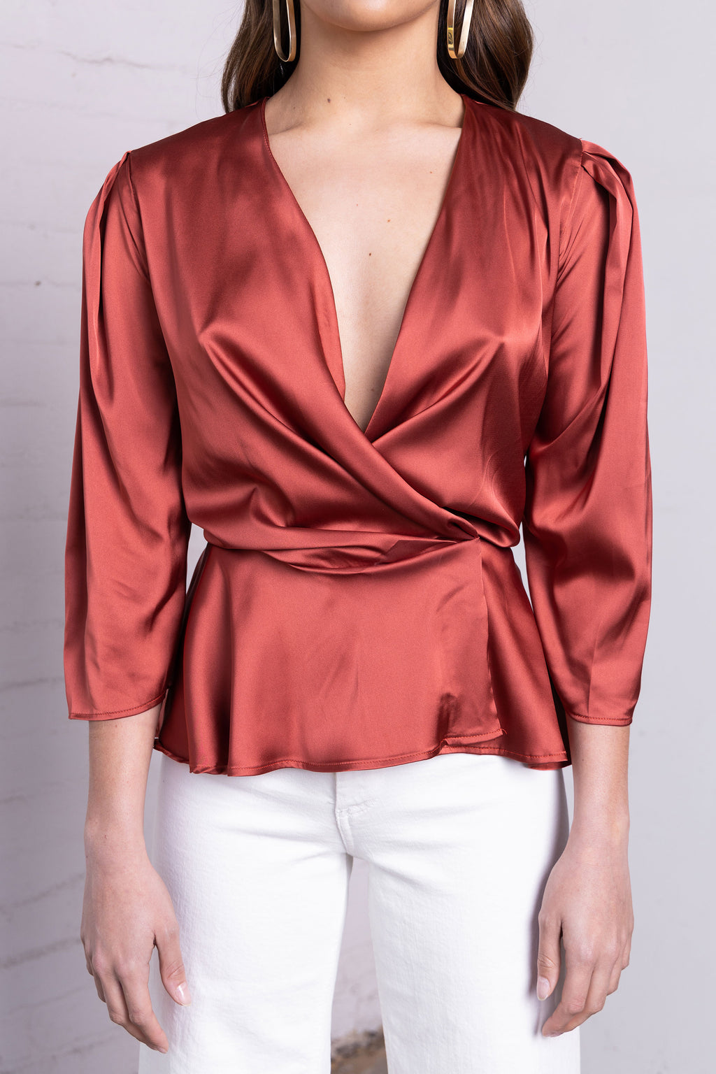 Wrap Blouse - Rust