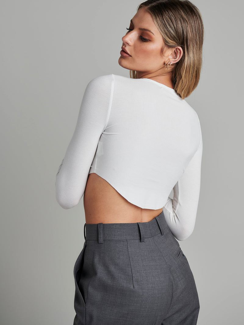 Long Sleeve Crew Neck Crop - WHITE