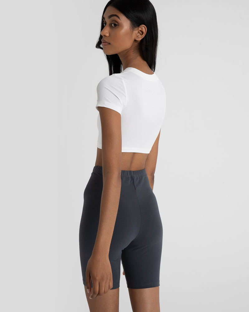 ALYSSA CROP CREW NECK TSHIRT - WHITE