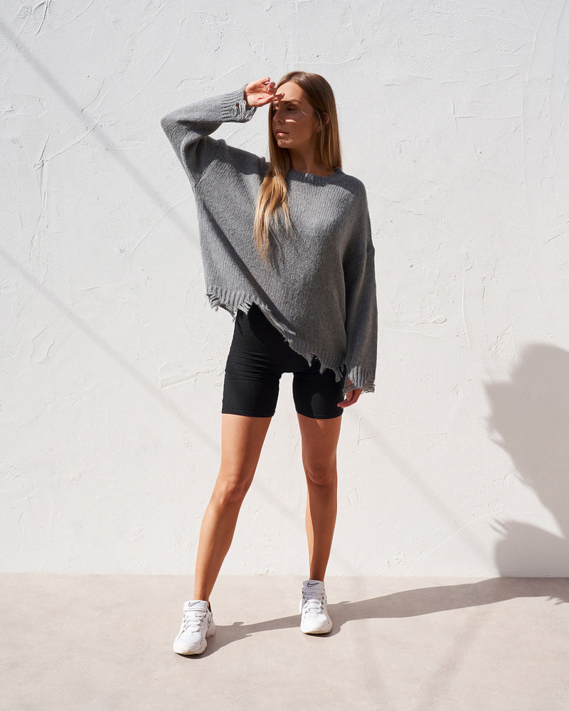 Distressed Knit - Grey