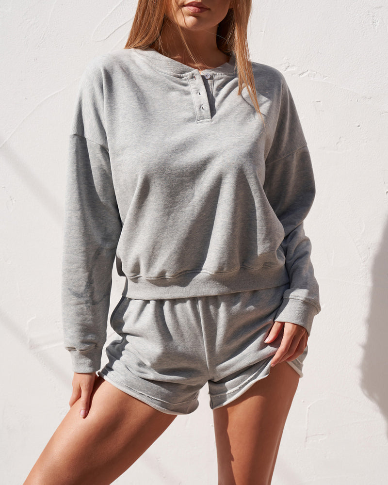 Button Down Sweater - Grey