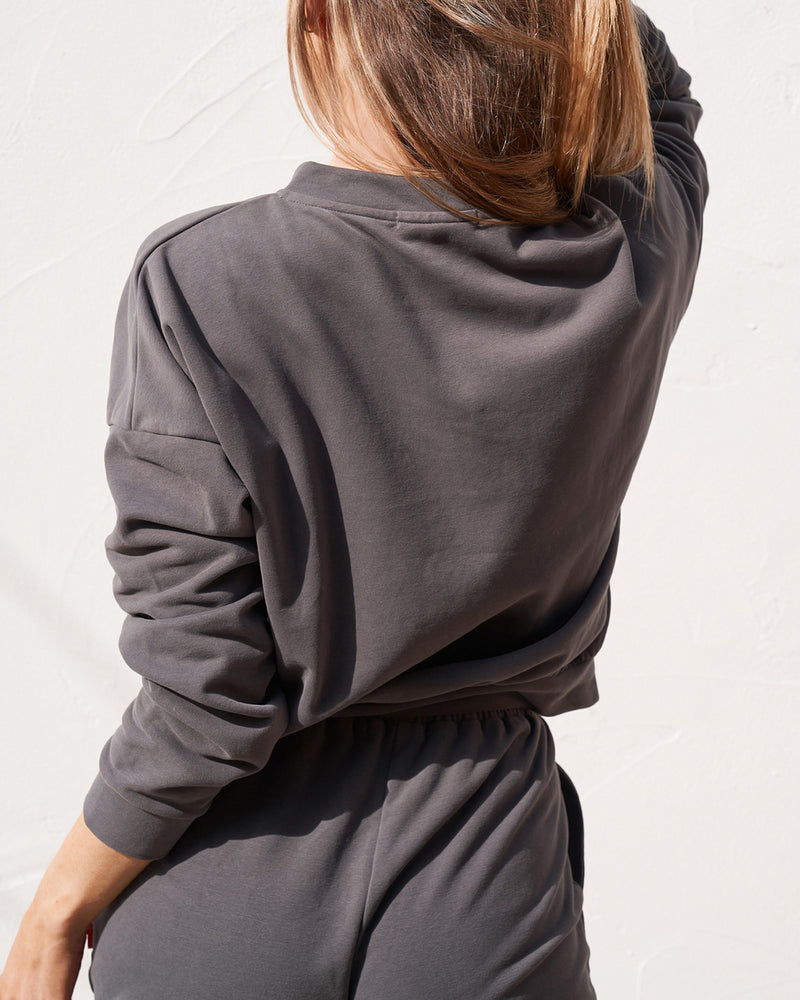 Button Down Sweater - Charcoal