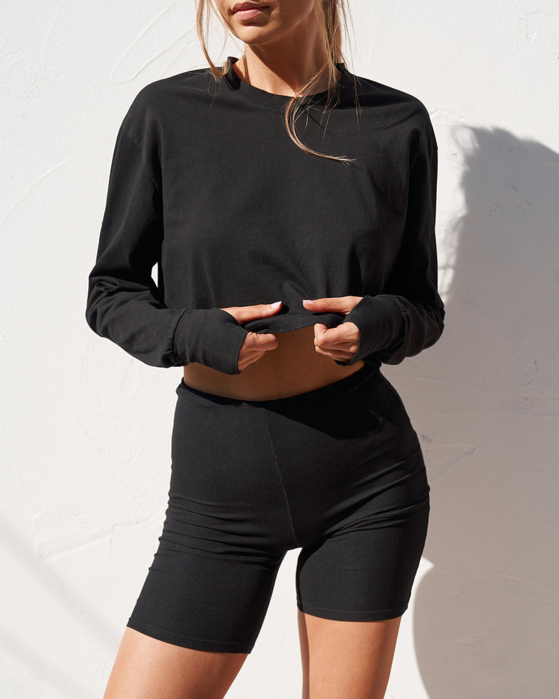 Long Sleeve Boyfriend T-Shirt - Black