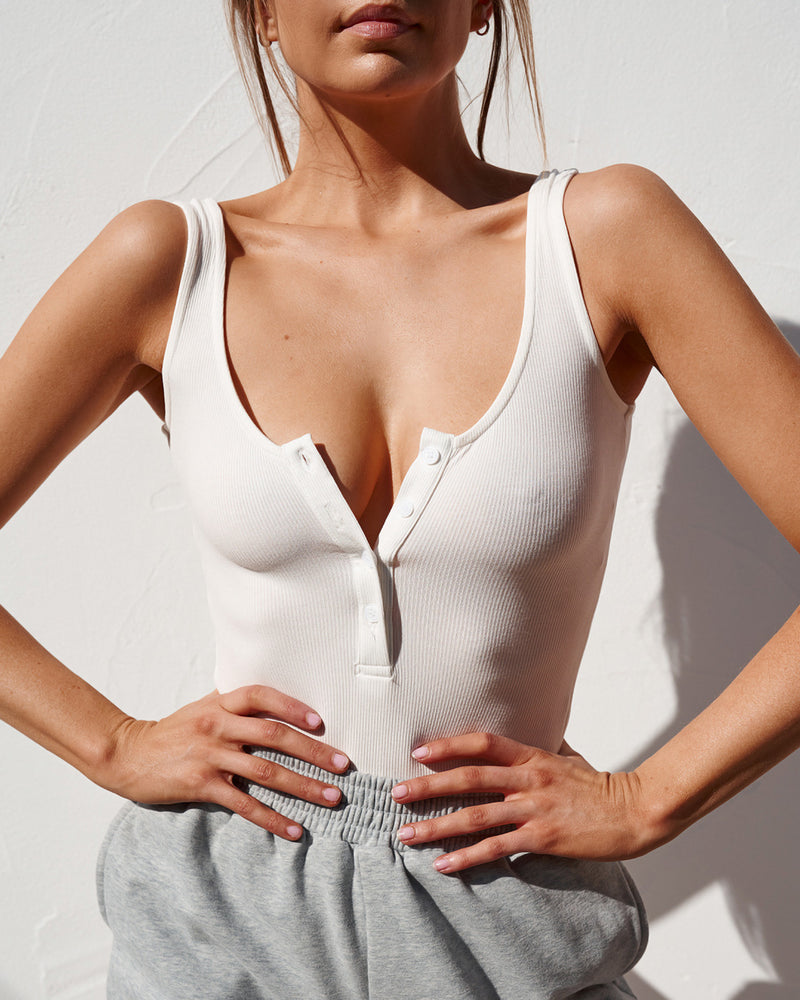 Scoop Neck Button Down Bodysuit - White