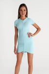 Ruched Tshirt Mini Dress - Baby Blue