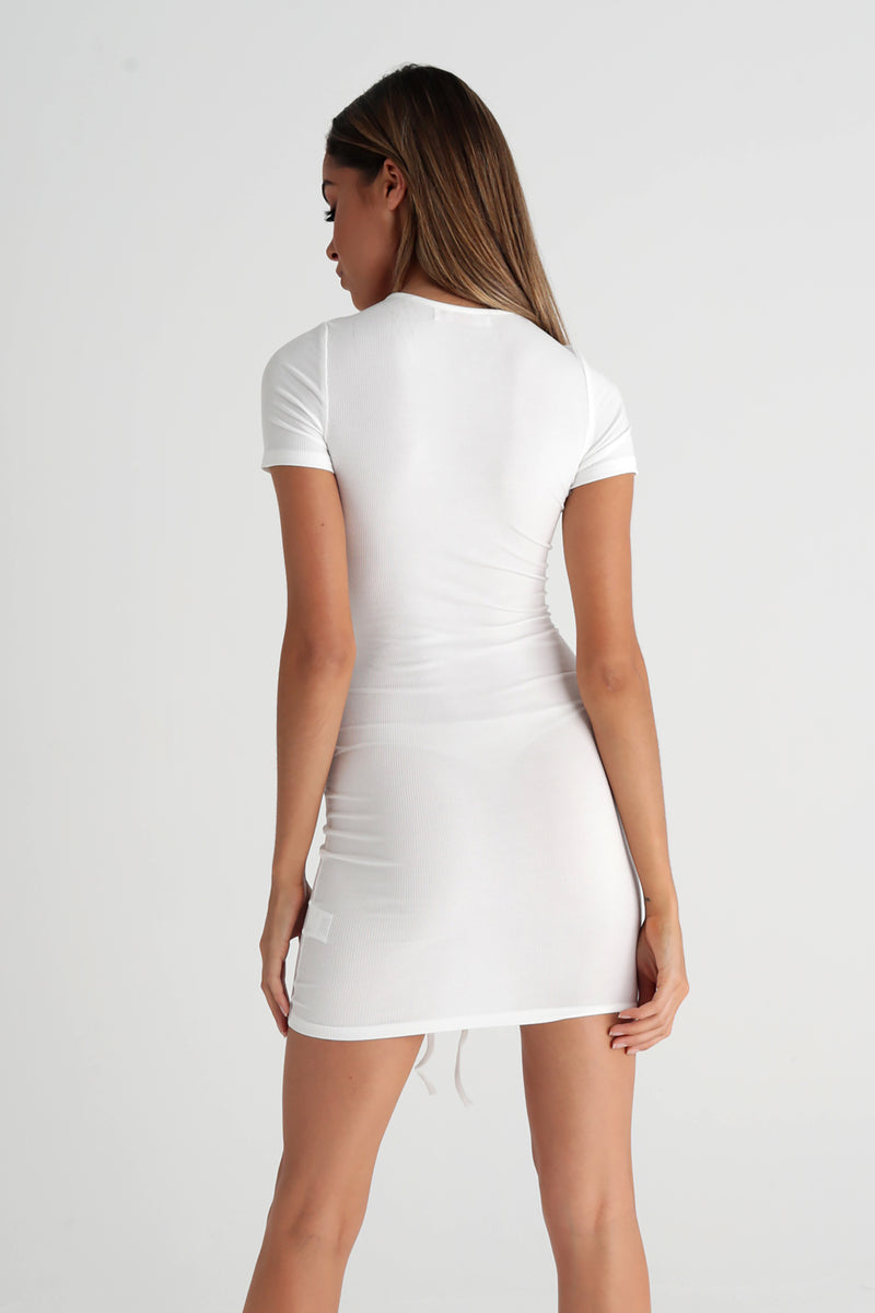 Ruched Tshirt Mini Dress - White