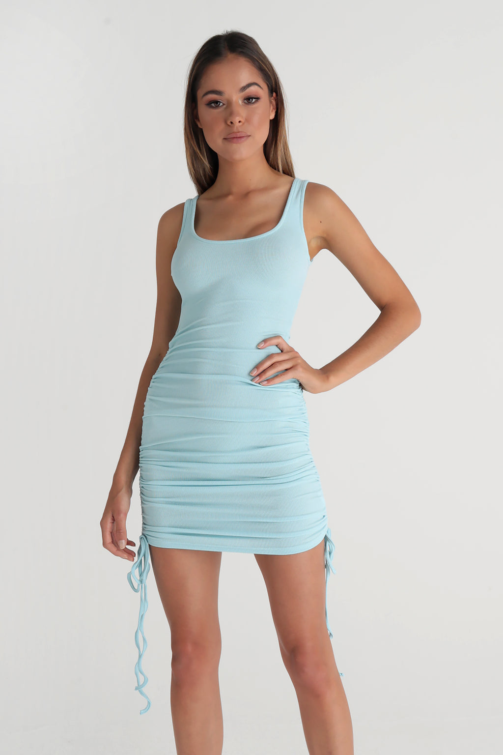 Scoop Neck Ruched Midi Dress - Baby Blue