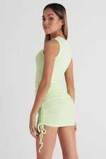 Gathered Mini Skirt - Neon Green