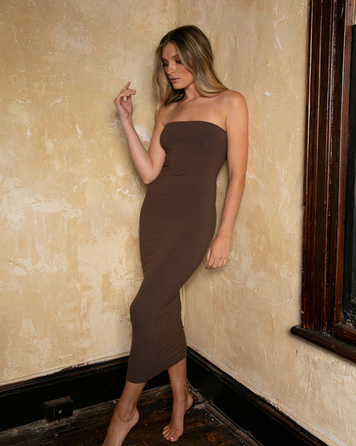 Strapless Maxi Dress - Brown