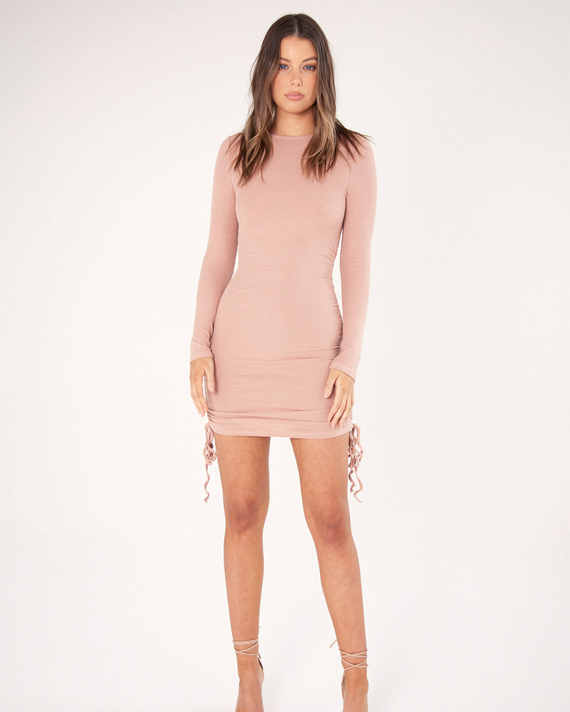 LONG SLEEVE GATHERED MINI DRESS - NUDE