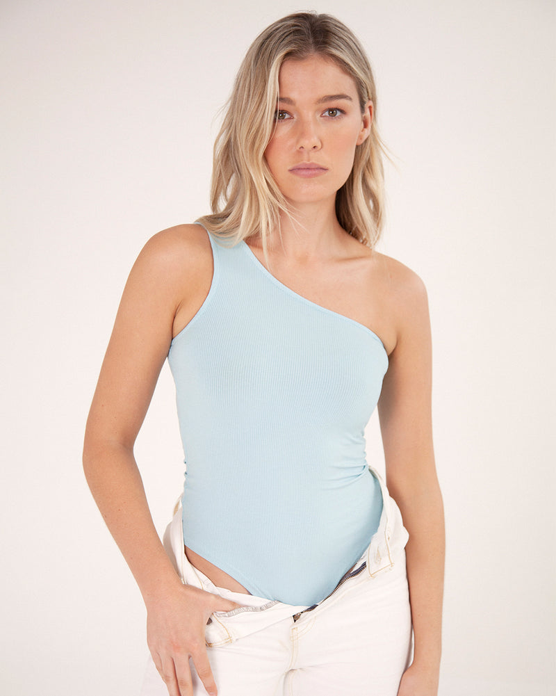 One Sided Bodysuit - Baby Blue