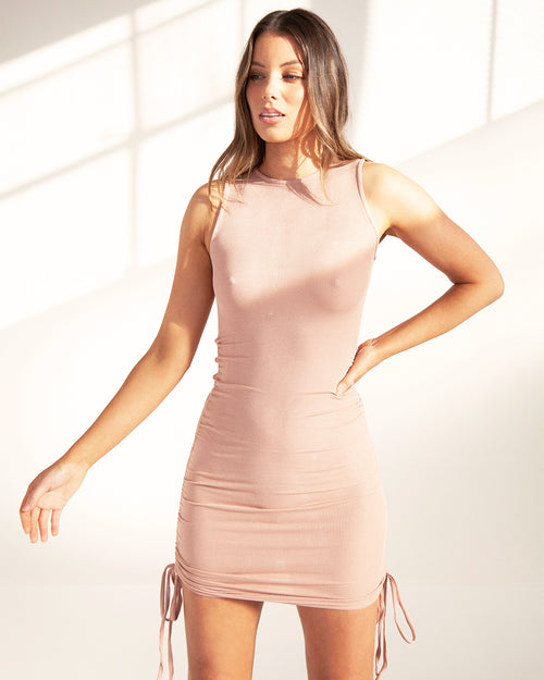 Gathered Tank Mini Dress - Nude