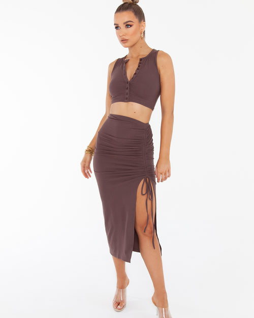 Drawstring Skirt - Brown