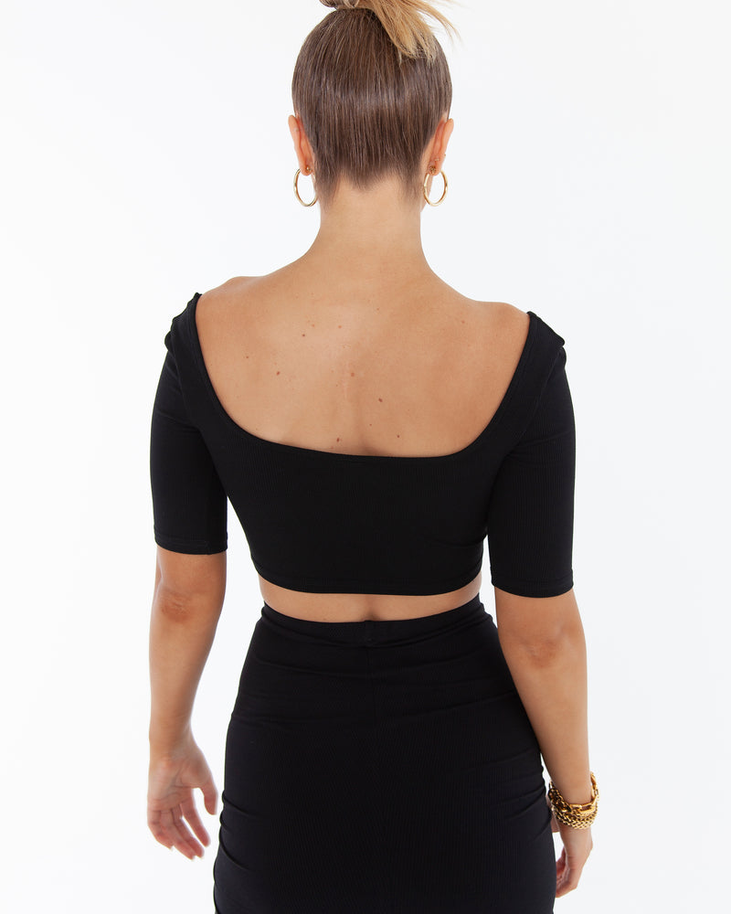 KARA CROP - BLACK