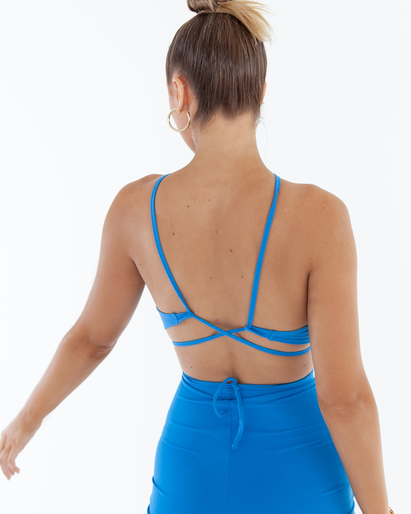 Cross Strap Crop - Blue